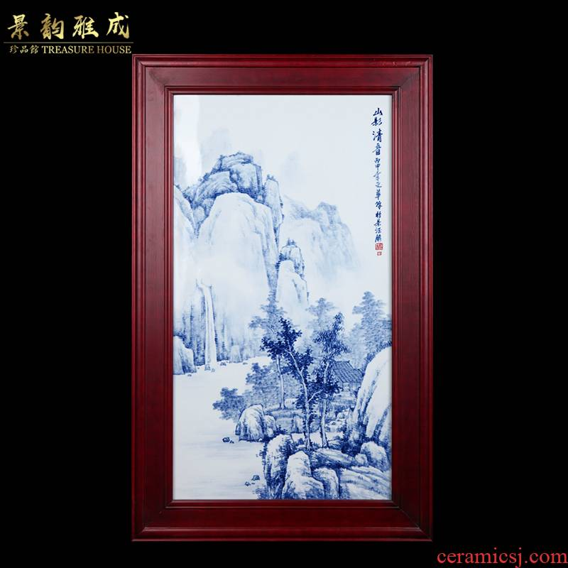 Jingdezhen ceramic new Chinese hand - made hillshade surd sitting room sofa background wall decoration painting porcelain plate