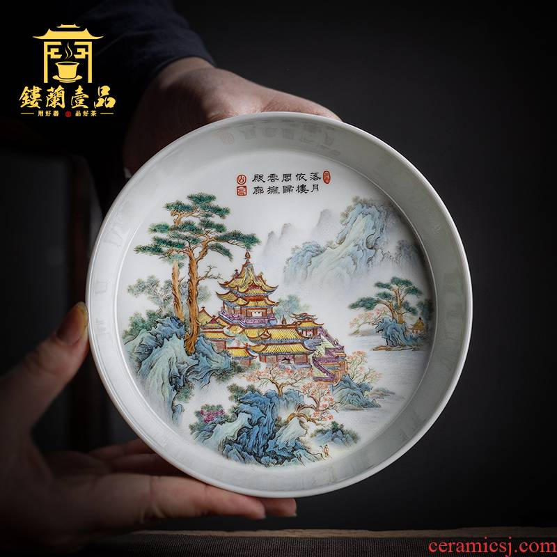 A castle in the jingdezhen ceramics all hand - made pastel decorative plate teapot household tea tea pet accessories furnishing articles