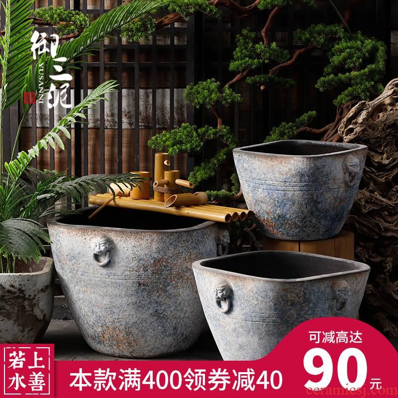 Vintage antique ceramic cylinder big flowerpot tank floor furnishing articles courtyard garden coarse pottery manual water basin of water