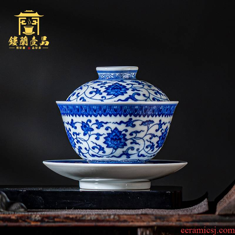 Jingdezhen ceramic blue tie up branch lotus home hand - made all three to a single tea tureen large tea cups of tea