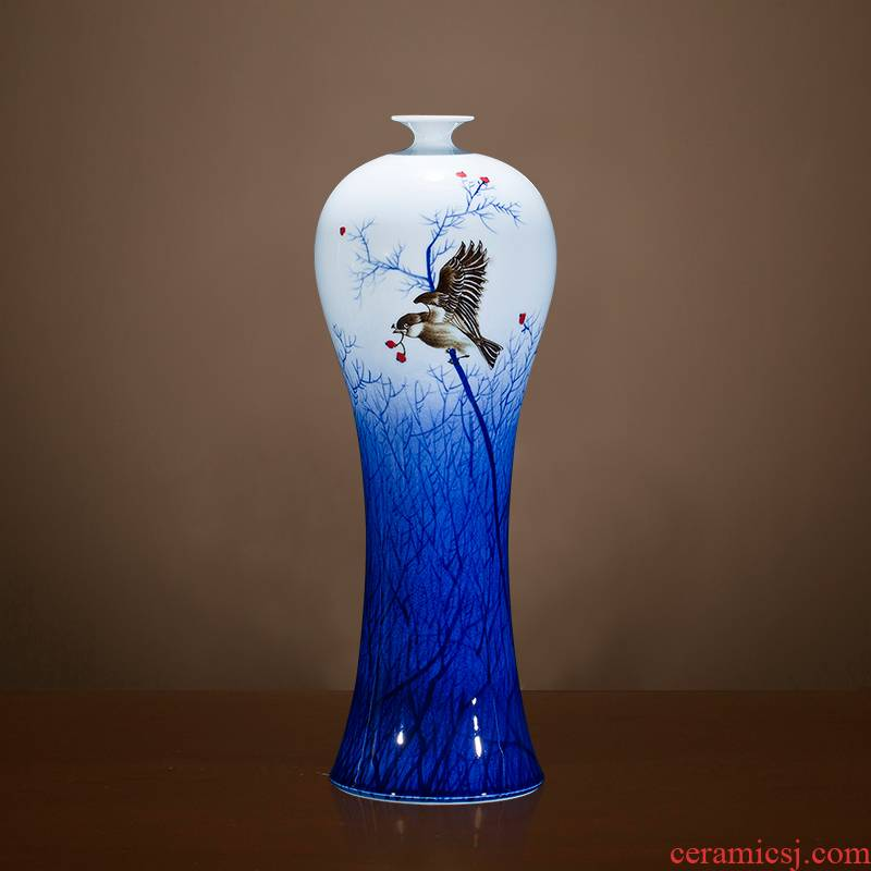 Jingdezhen blue and white porcelain hand - made ceramic vase furnishing articles flower arranging Chinese style household decorates porch decoration large living room