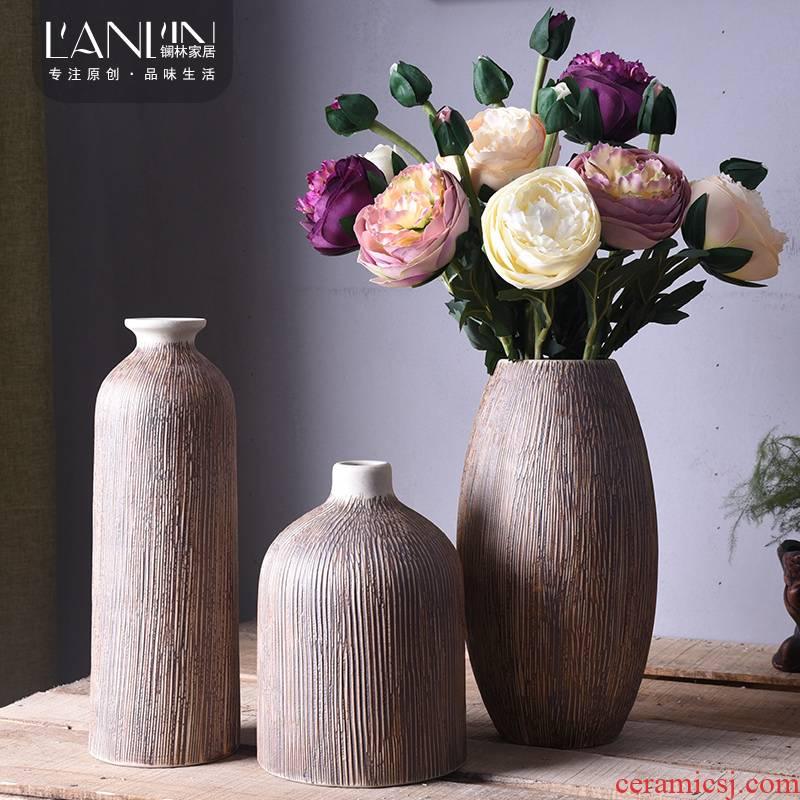 Ceramic coarse pottery vase Chinese style restoring ancient ways the sitting room tea table decorations zen furnishing articles flower arranging dried flower Ceramic art