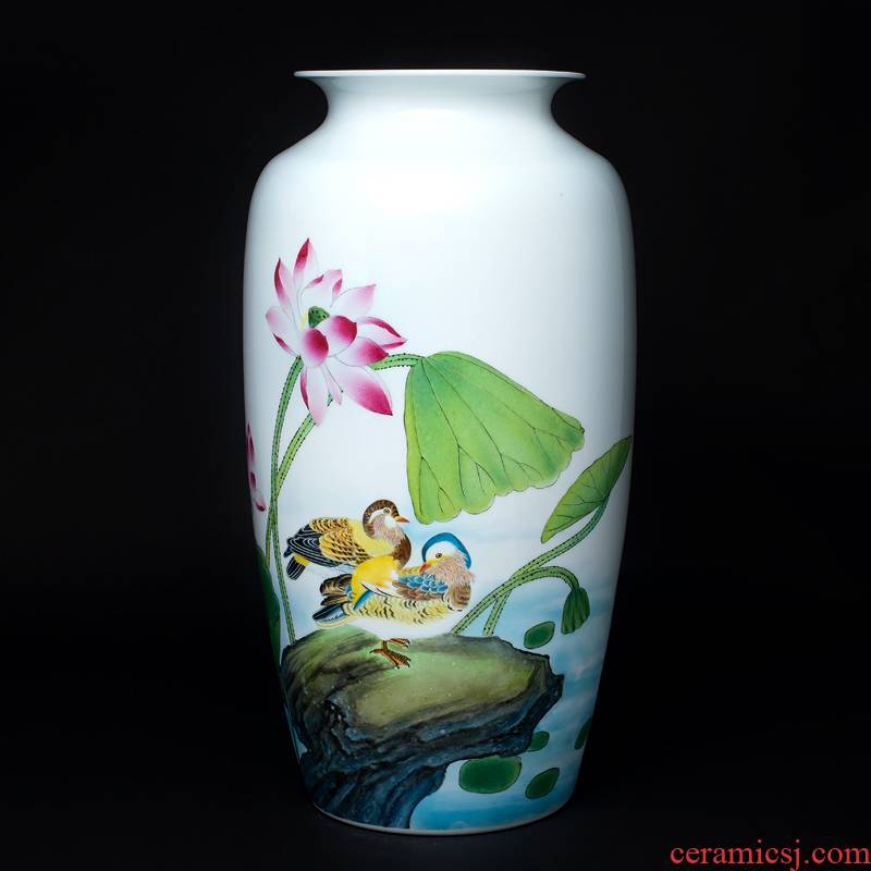 The Master of jingdezhen ceramics thin foetus enamel vase hand - made the sitting room porch decoration of Chinese style household business gifts