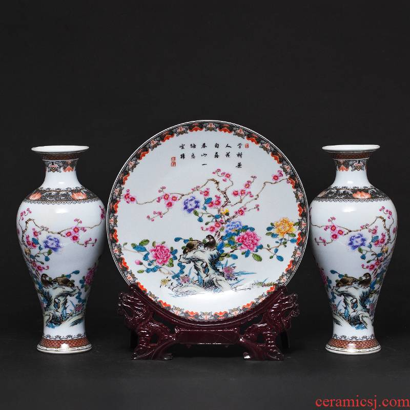 Jingdezhen ceramics powder enamel vase three - piece furnishing articles of Chinese style living room TV cabinet rich ancient frame craft ornaments
