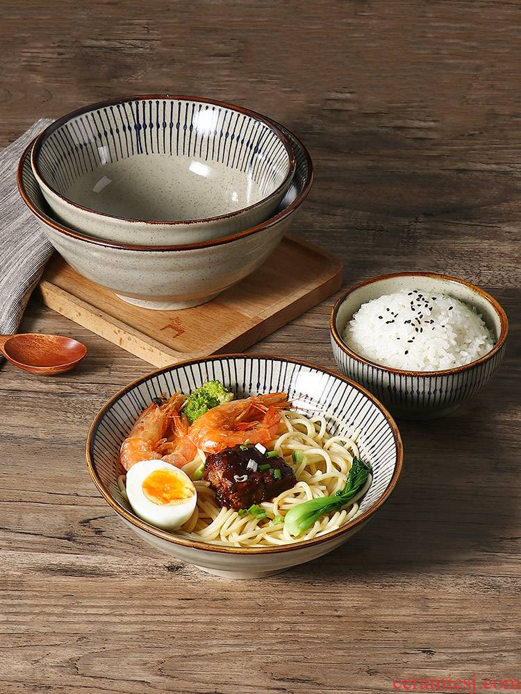J together scene day type style with thick ceramic bowl household retro elegant tableware single rainbow such as bowl of rice bowl soup bowl