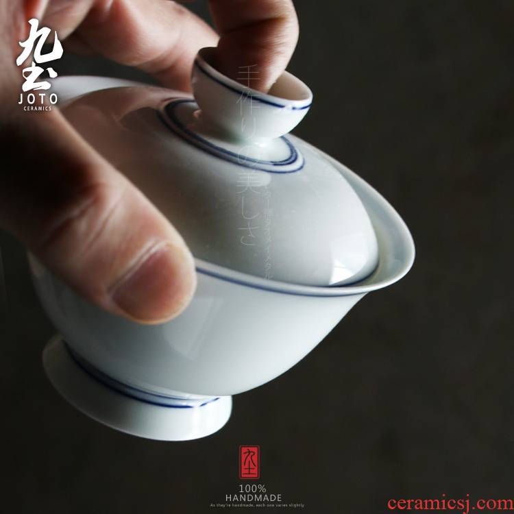 About Nine soil manual tureen retro white tureen kung fu tureen of blue and white porcelain bowl with jingdezhen ceramic hand - made teacup