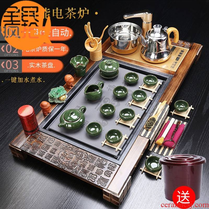 Hui shi kung fu tea tea set home fully automatic electric furnace violet arenaceous glass solid wood tea tray of a complete set of tea