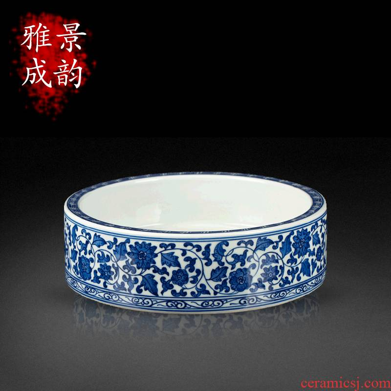 Blue and white porcelain of jingdezhen ceramics bound branch lotus writing brush washer washing handicraft furnishing articles home sitting room adornment study