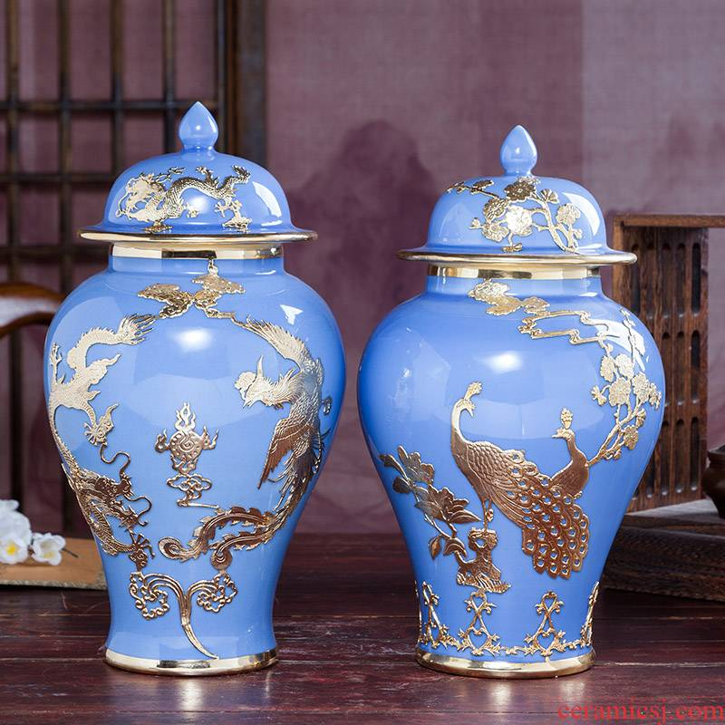 Jingdezhen ceramics tracing an inset jades general pot vase archaize sitting room of Chinese style household adornment handicraft furnishing articles