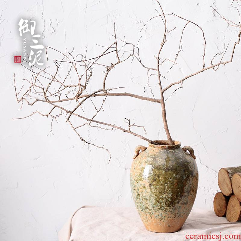 Jingdezhen manual coarse pottery restoring ancient ways the dried flower art vase meaty plant flower pot zen Japanese home stay facility