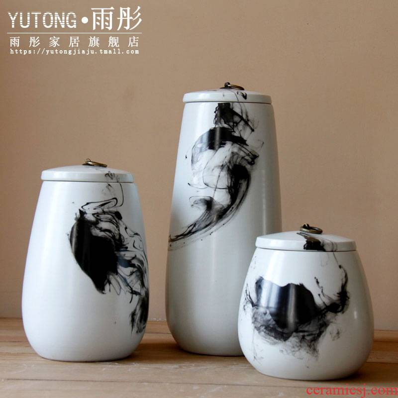 The rain tong household jingdezhen ceramic hand draw freehand brushwork in traditional Chinese painting ink tank storage tank home furnishing articles sitting room porch decoration