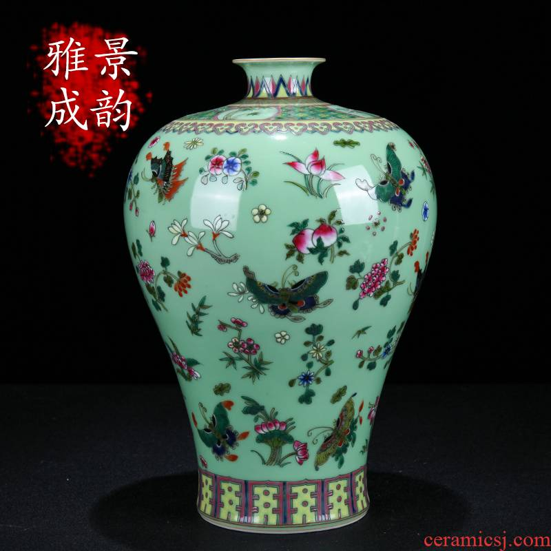 Jingdezhen ceramic vases, hand - made pastel name plum bottle of new Chinese style household furnishing articles sitting room porch porcelain arts and crafts