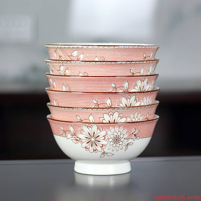 "Ceramic bowl 5.5 ""household eat mail Chinese high soup bowl bowl six ipads porcelain tableware rainbow such as bowl rice bowls"