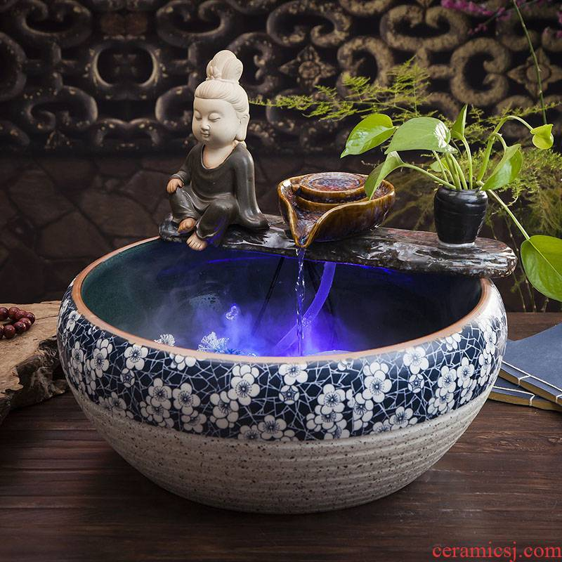 Jingdezhen ceramic goldfish bowl fish bowl sitting room small furnishing articles of household water landscape koi fish tank feng shui