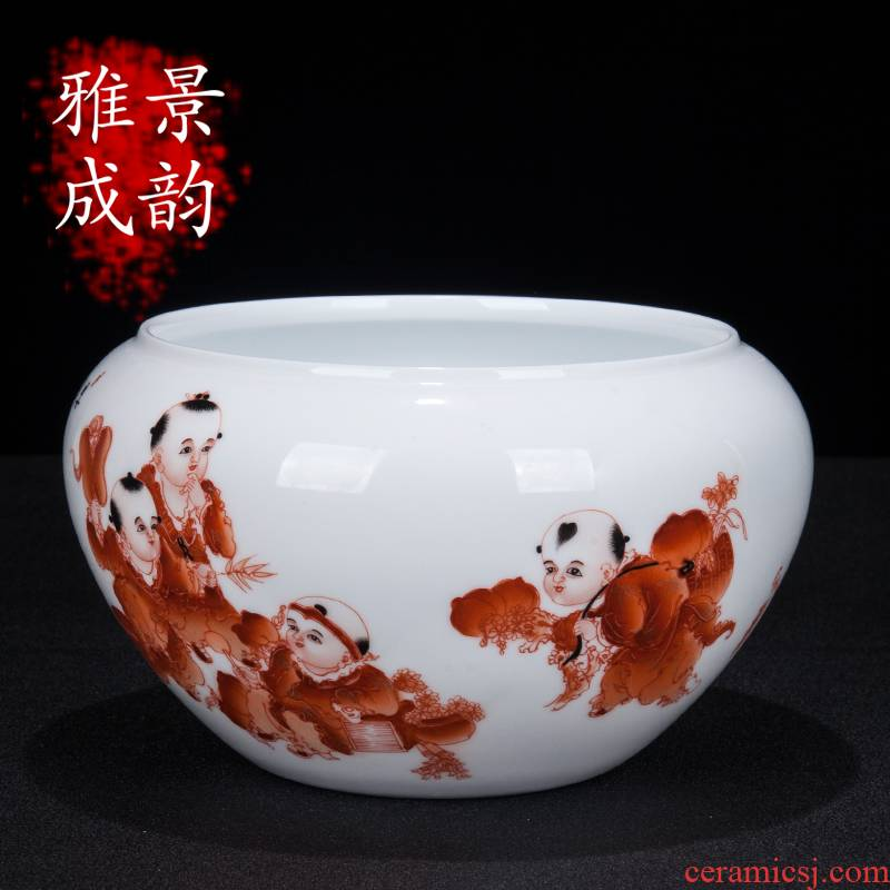 Jingdezhen ceramic I and contracted hand - made baby play figure sitting room rich ancient frame desk writing brush washer from household decorative furnishing articles