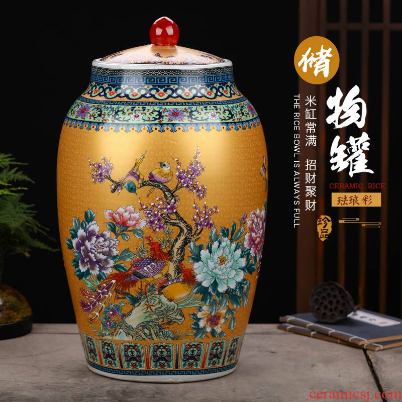 Jingdezhen ceramics barrel household sealed with cover 20 jins 30 jins 50 have the moistureproof insect - resistant ricer box installed storage tank