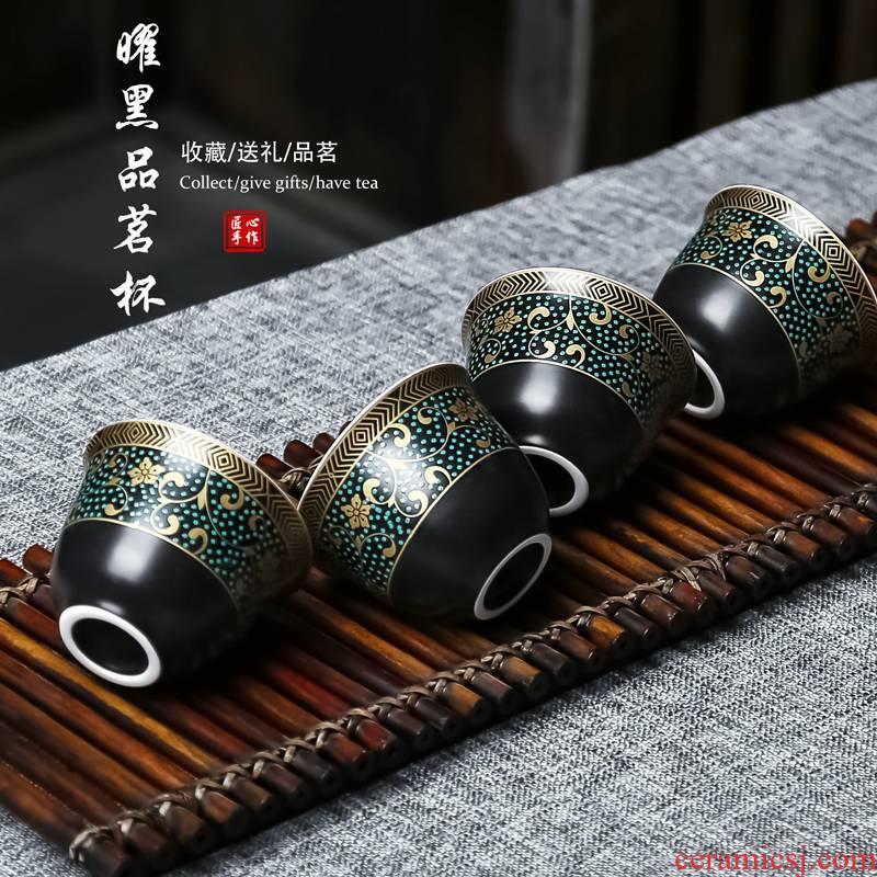 Obsidian black heap flower tea cup sample tea cup ceramic tea cup sample tea cup master cup kung fu tea cups household restoring ancient ways