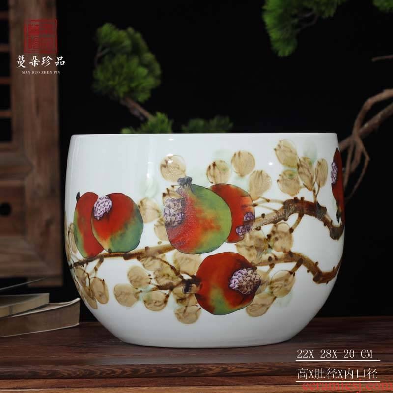 Jingdezhen display cylinder many children f pomegranate China writing brush washer move culture China writing brush washer summing up China