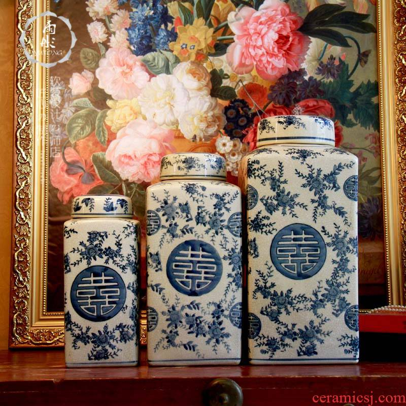 Rain tong home | jingdezhen blue and white double blue and white porcelain ceramic various crack candy jar storage tank
