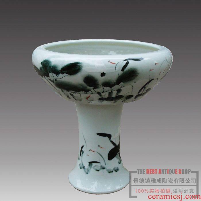 Jingdezhen chinaware lotus creative ecological fashion Jingdezhen big fish tank aquarium with base