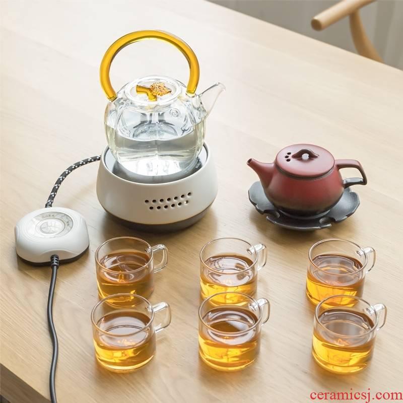 Household boiling tea ware suit titian glass teapot tea stove steam boiling pot of a complete set of electrical TaoLu kung fu tea set