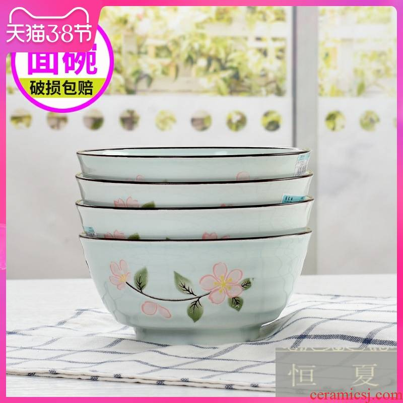 Japanese creative ceramic tableware rainbow such as bowl home eating spaghetti against the hot large bowl noodles in soup bowl with rice bowls