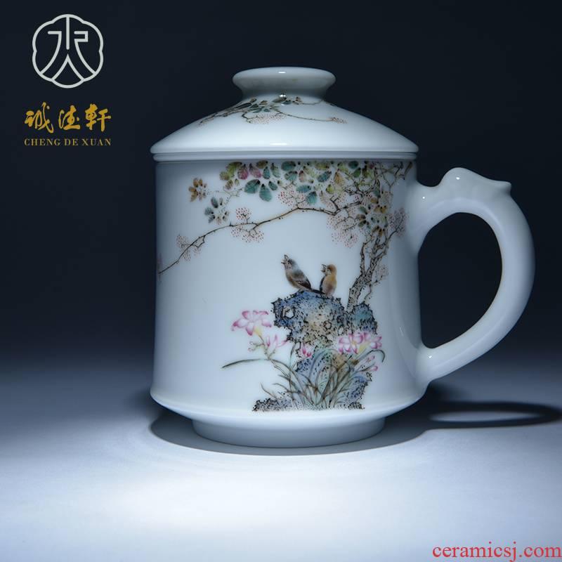 Cheng DE hin jingdezhen ceramic tea set, high - grade pure hand draw pastel 5 cups red smartweed spearmint