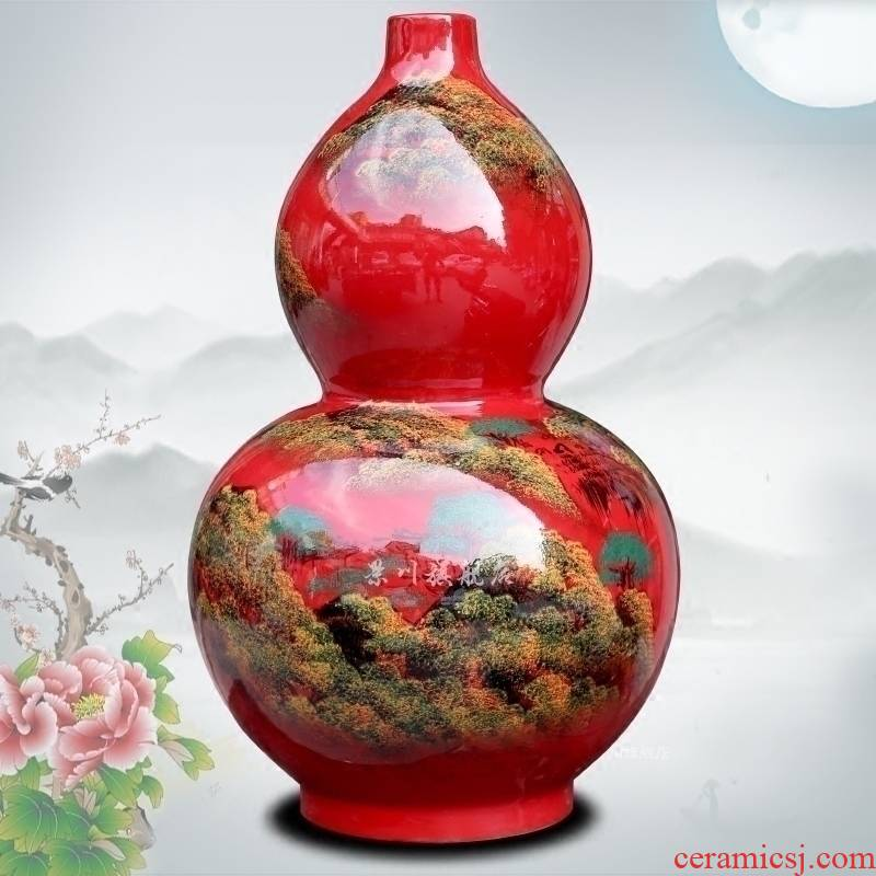 Jingdezhen ceramic hand - made landscape painting Chinese red vase sitting room office mesa study gourd place adorn article