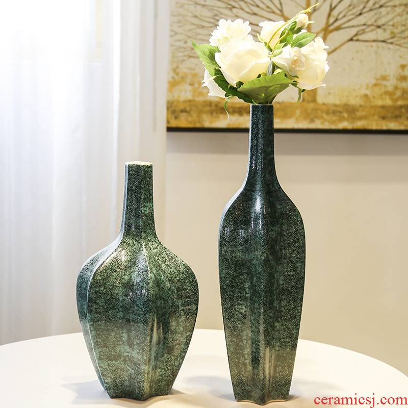 Jingdezhen ceramic small expressions using vase flower arranging furnishing articles decorative flower implement of new Chinese style living room TV cabinet table simulation flowers