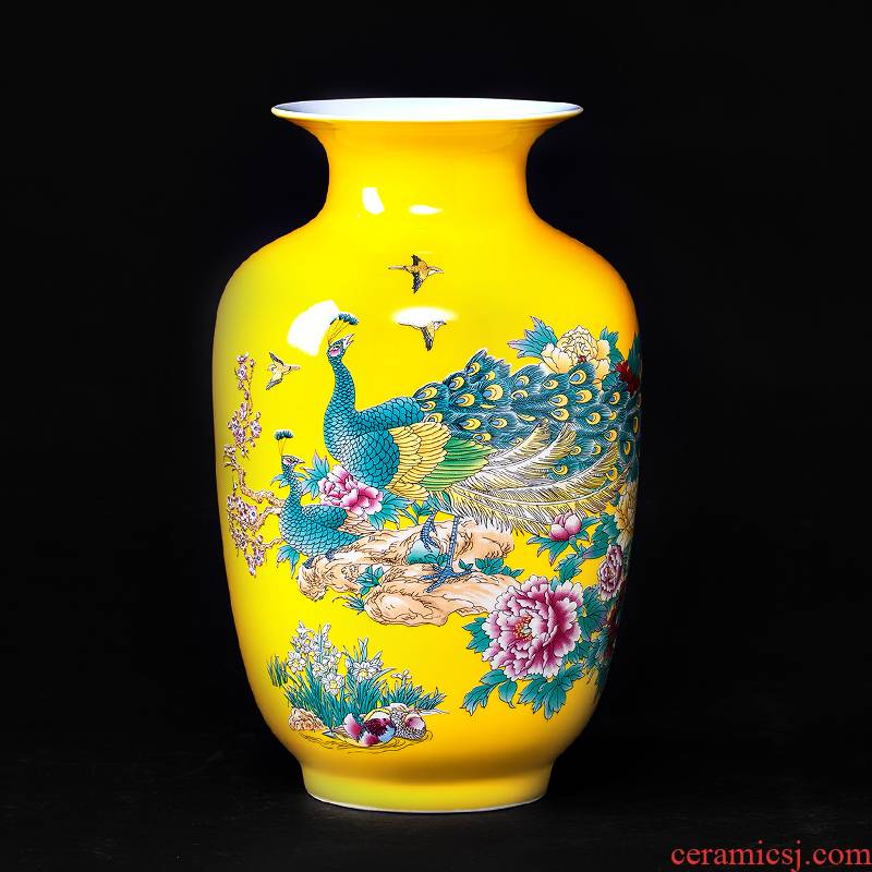 Jingdezhen ceramics furnishing articles pastel yellow glaze floret bottle of flower arranging modern new Chinese style household living room decoration