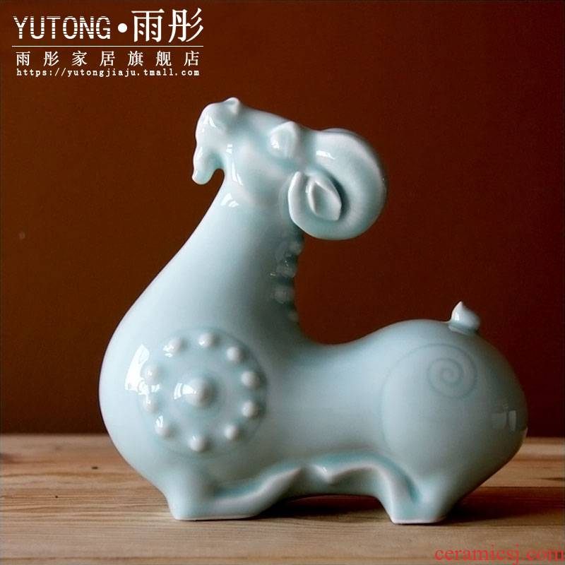 Rain tong home | shadow celadon porcelain manually longevity sheep home home home act the role ofing auspicious place jingdezhen porcelain manually