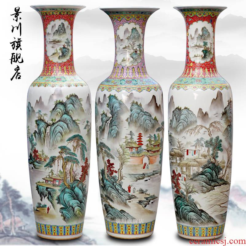 Jingdezhen ceramics pastel landscapes of large vase sitting room of Chinese style household act the role ofing is tasted furnishing articles in the hotel lobby