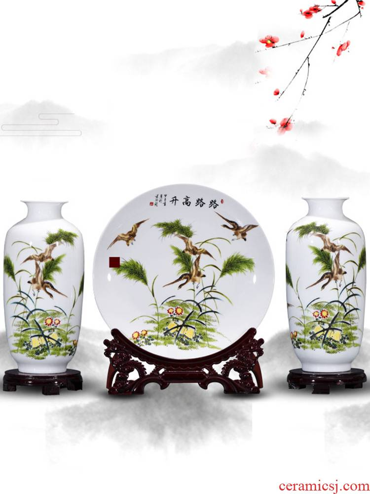 Jingdezhen ceramics three - piece floret bottle slender furnishing articles flower arranging Chinese style living room home decoration arts and crafts