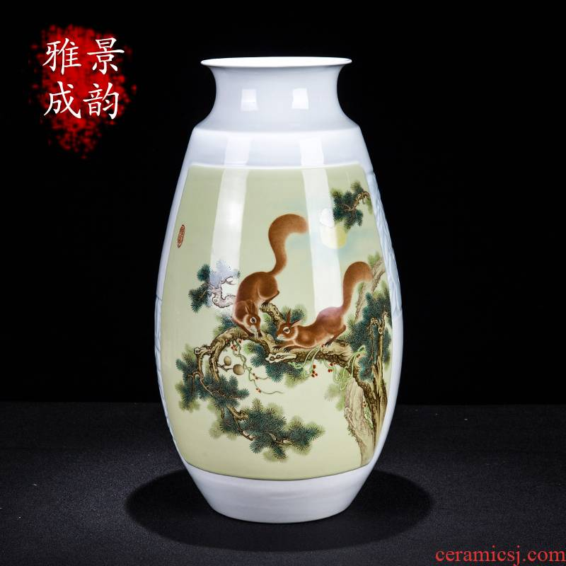 Jingdezhen ceramic new Chinese hand - made loose on vase furnishing articles home rich ancient frame porcelain sitting room adornment