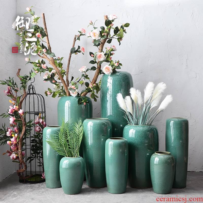 Dried flower color glaze up ceramic floor vase flower arranging modern European sitting room decoration to the hotel furnishing articles big vase
