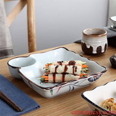 Dumplings dribbling vinegar disc ceramic tableware.net red bowl of creative home plate plate plate microwave special dishes