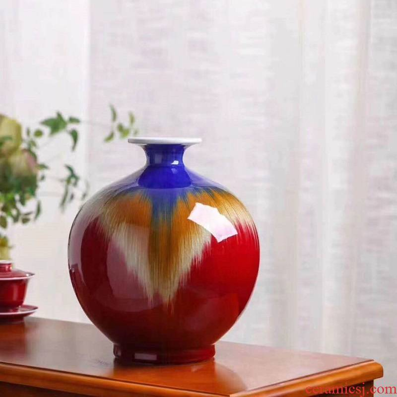 Jingdezhen kilns wave red vase is 380