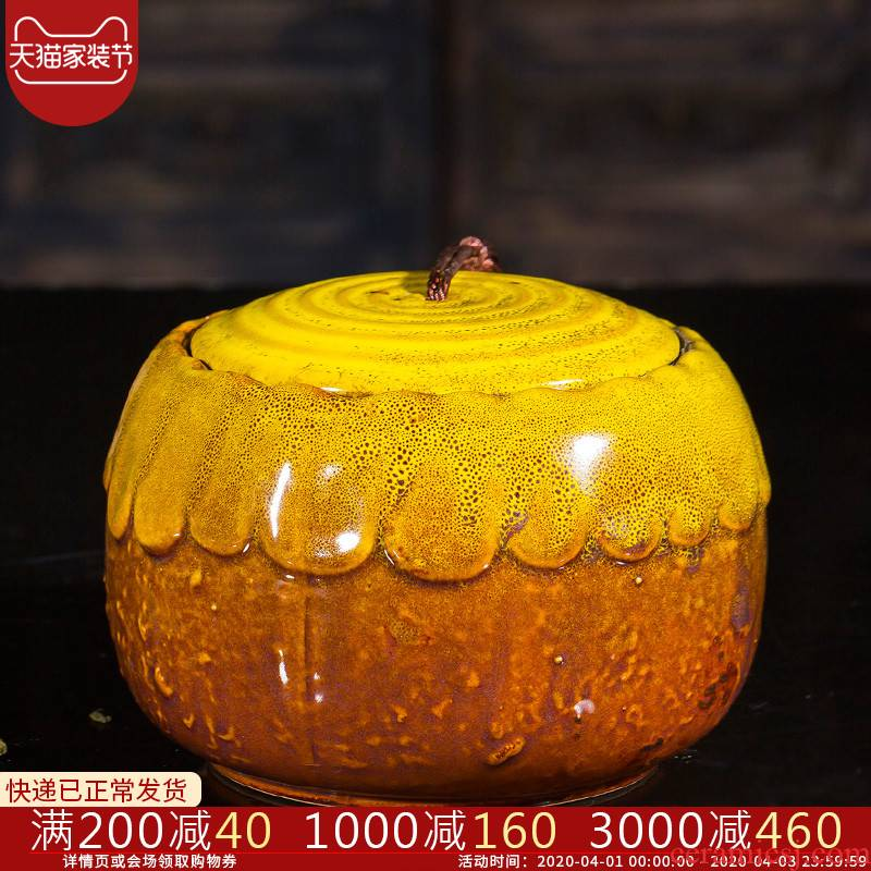 Jingdezhen ceramic color glaze sealing caddy fixings household storage jar puer tea with half a catty large promotion