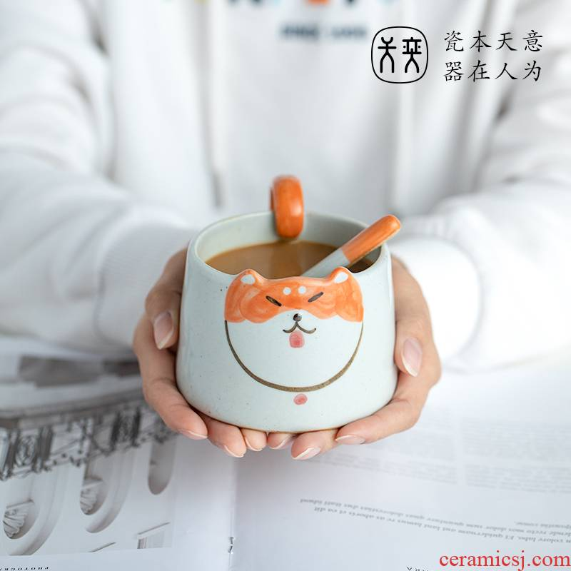 Glass shiba inu cup individuality creative to send express it in a ceramic cups of coffee keller cup gifts home