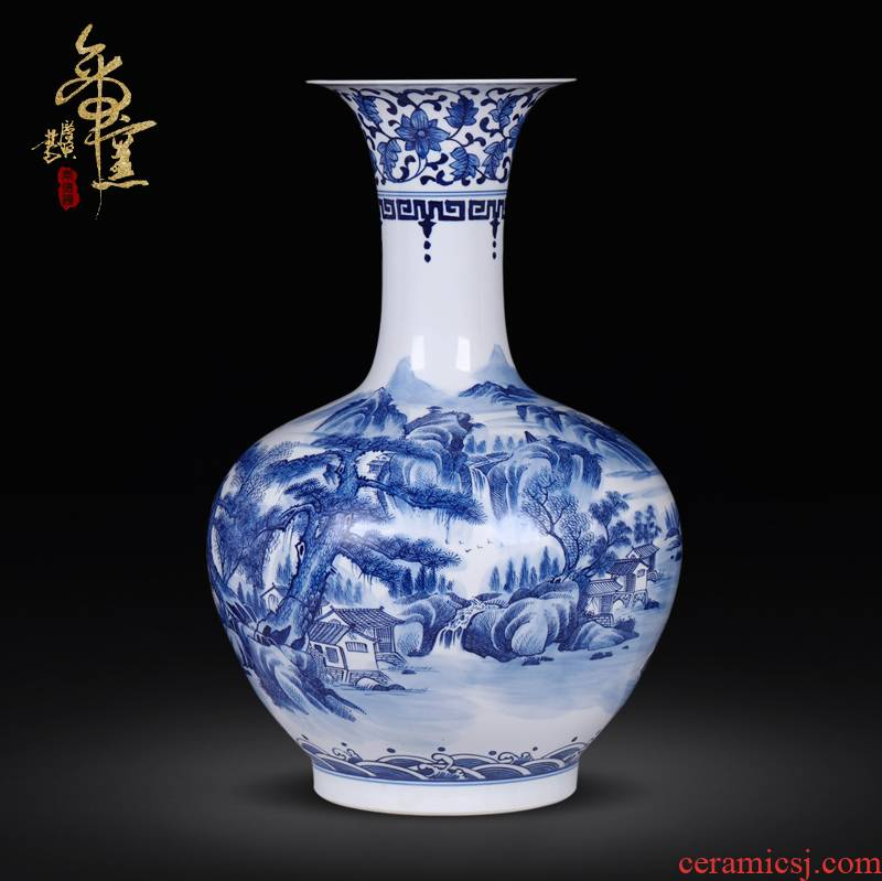 Jingdezhen ceramics high Chinese blue and white landscape painting craft vase of large sitting room adornment is placed