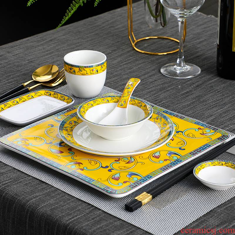 Hotel supplies Hotel ceramic tableware to suit the high - end club restaurant Chinese style restaurant dish the custom LOGO printing