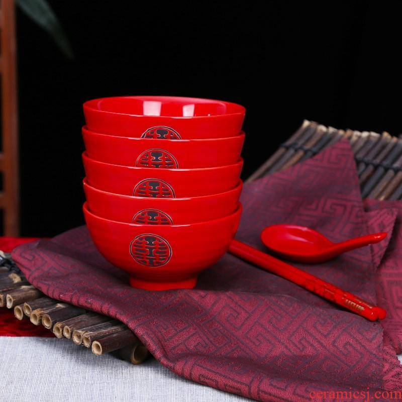 Chinese red wedding 6 pack spoon tableware suit double happiness to the bowl of red ceramic bowl festival gift to Mary question