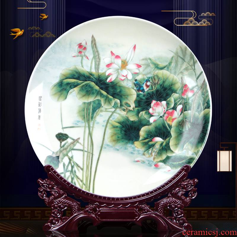 The New Chinese porcelain lotus jingdezhen ceramic decoration plate sit plate of the sitting room porch rich ancient frame wine gift furnishing articles