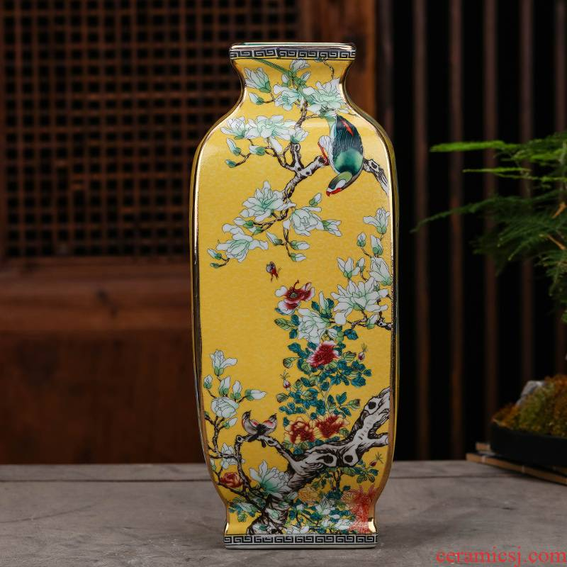 Archaize of jingdezhen ceramics colored enamel vase flower arranging furnishing articles of Chinese style classical home sitting room porch decoration