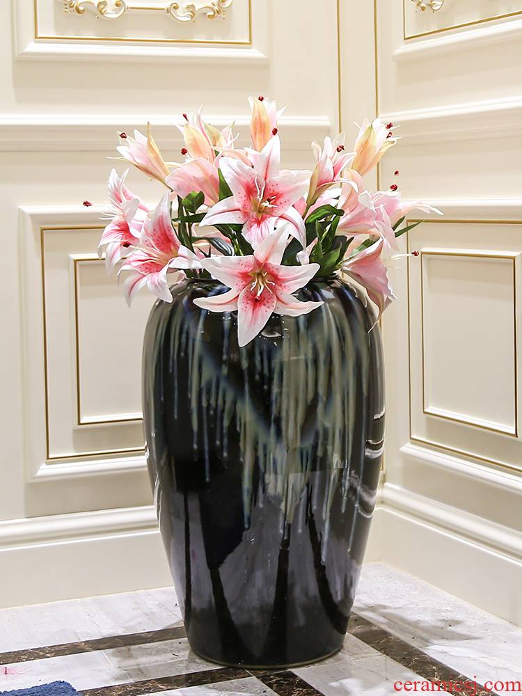 Sitting room creative flower arranging furnishing articles landing European contracted home decoration ceramic dry flower vase floral arrangements