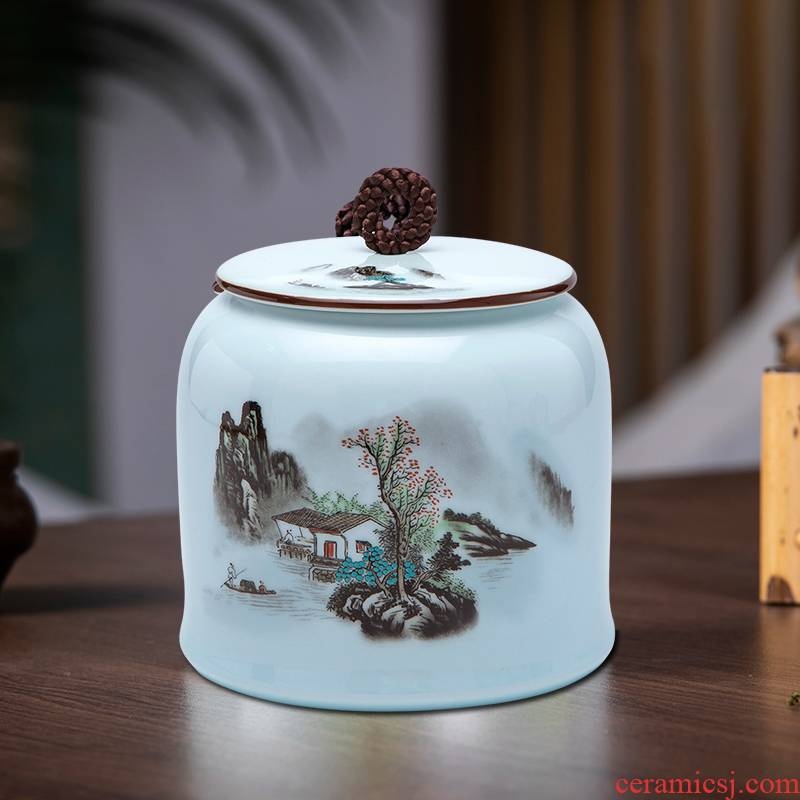 Jingdezhen ceramics powder enamel caddy fixings puer tea pot with cover seal storage tanks tea boxes, tea sets
