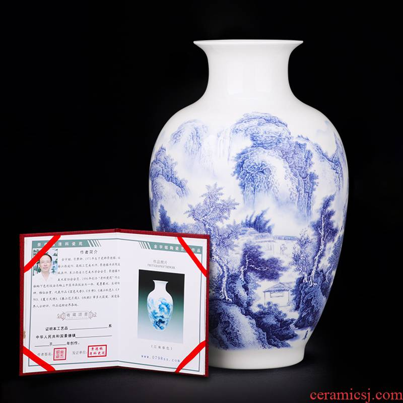 Jingdezhen ceramics landscape of blue and white porcelain vases, flower arranging furnishing articles mesa of the sitting room of Chinese style household decorations decoration