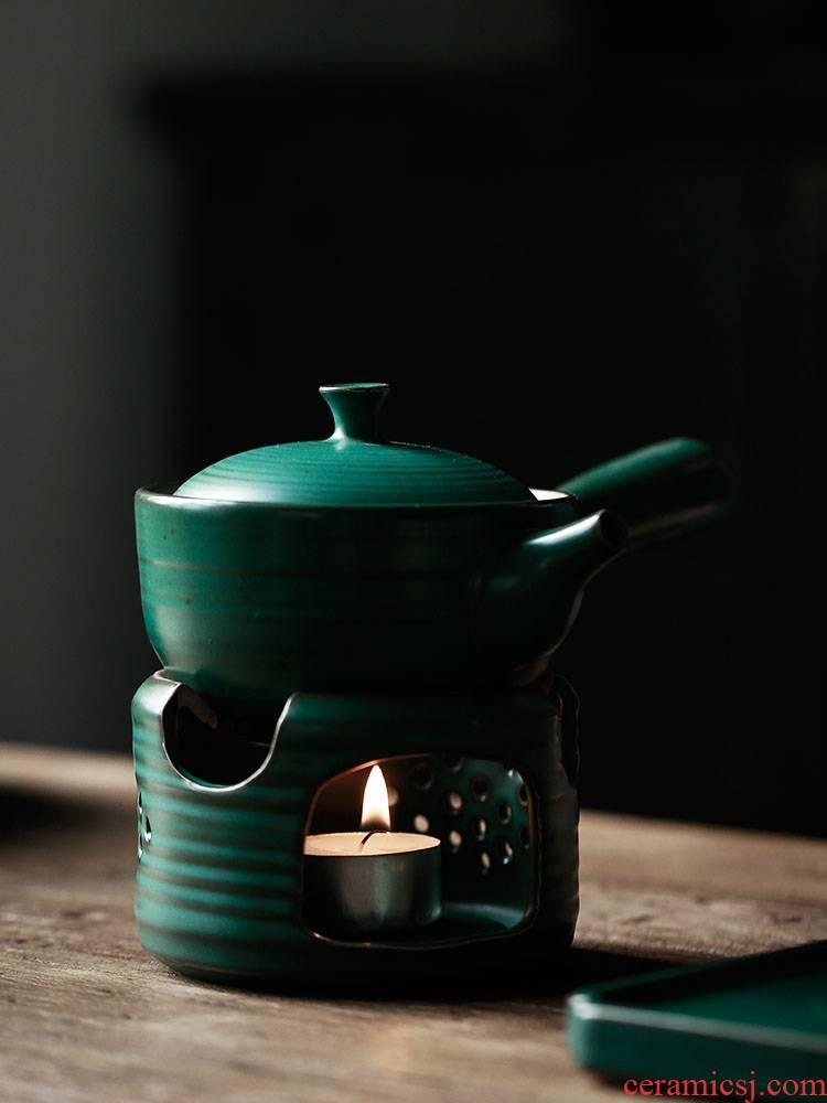 ShangYan Japanese coarse pottery tea boiling kettle black pottery based heating furnace temperature tea, kungfu tea boiled tea set