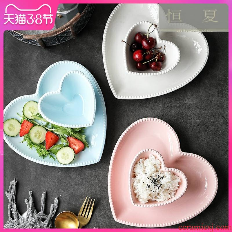 Ceramic heart - shaped plate creative dessert plate, lovely red net dish dish home fruit snacks breakfast tray