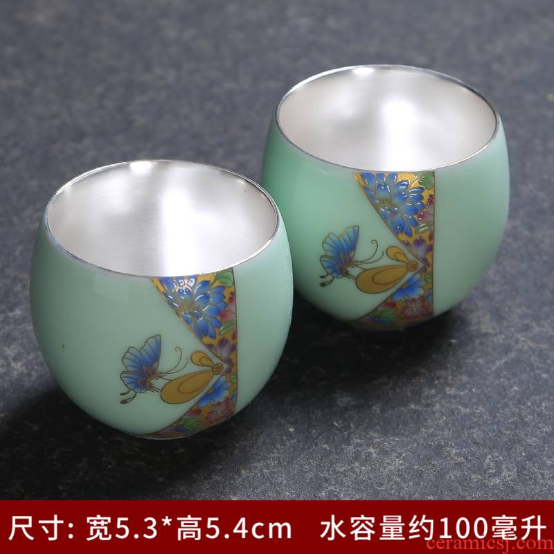 Jingdezhen blue and white famille rose porcelain ceramic kung fu tea cup purple see colour sample tea cup master cup personal cup